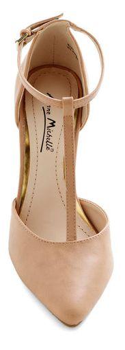 Nude T-strap pumps - #wardrobestaple