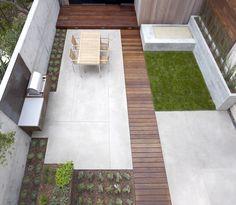 Small, modern back garden with a rectangular theme.