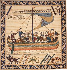 Duke William's ship, as portrayed on the Bayeux tapestry. Depicts the events leading up to the Battle of Hastings when Duke William of Normandy was victorious over King Harold of Saxon, England. Bayeux Tapestry, Medieval Tapestry, Medieval Art, Wall Tapestry, Duke William, High Middle Ages, Middle School, High School, London Illustration