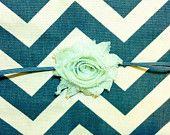 Valentines Day Mint Shabby Chic Flower on Gray Skinny Headband - Baby Shower - Baby Gift -
