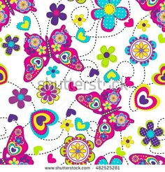 Vector seamless geometric cute pattern with colorful butterfly, flowers and hearts. Fashion illustration in modern style. Girlish funny wallpaper  for textile and fabric.