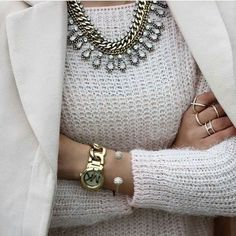 white-sweater-with-statement-necklace- Statement necklaces with cozy sweaters http://www.justtrendygirls.com/statement-necklaces-with-cozy-sweaters/