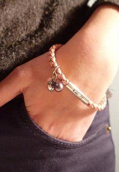 Tribal steel leather bracelet - Pink