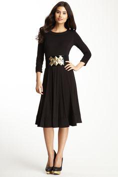 3/4 Length Sleeve Novelty Dress with Removable Belt