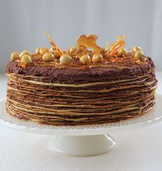 The components of this spectacular cake may be made in advance and the cake assembled a few hours before serving.  more
