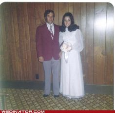 Bride and groom in the 1970s.