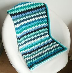 Crochet baby blanket sea blue green stripes
