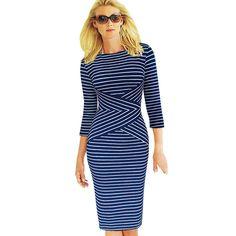 Купить товарVfemage женщин элегантный новый Colorblock полосатый туника носить на работу бизнес свободного покроя ну вечеринку карандаш оболочка Bodycon платье 548 в категории Платьяна AliExpress.                                         Информац
