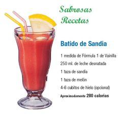 BATIDO DE SANDIA.- 1 medida de fórmula 1 sabor Vainilla. 250 ml. de leche desnatada. 1 taza de sandía. 1 taza de melón. 4-6 cubos de hielo (opcional). APROXIMADAMENTE 280 CALORIAS http://www.jpcdesayuno.blogspot.com/