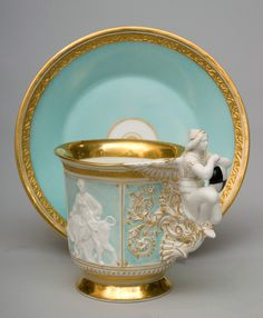 "ganymedesrocks: "" Impressive and rare porcelain cup and saucer. "" This Impressive & rare porcelain cup & saucer, its sides adorned with mythological figures on a turquoise ground; because of its elaborate handle decorated with an. Tea Cup Saucer, Tea Cups, Coffee Cups, Teapots And Cups, My Cup Of Tea, Tea Service, Tea Time, Tea Party, 19th Century"