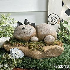 "Resting Cat Stone $14.00 lightweight resin, with wire whiskers and a coiled tail 9""W"