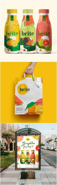 kemazan - The Brite Yogurt Packaging, Packaging Box, Fruit Packaging, Food Packaging Design, Beverage Packaging, Beauty Packaging, Brand Packaging, Branding Design, Juice Branding
