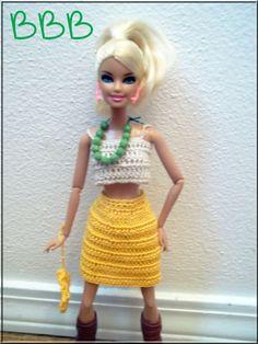 Crochet Barbie Clothes Outfit Beige Crop by BarbieBoutiqueBasics