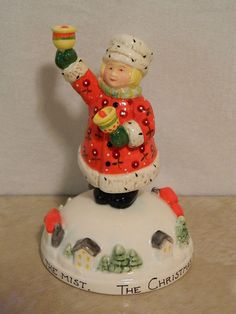 Sweet ceramic figurine (I am not a fan of resin but LOVE ceramic!) MARY ENGELBREIT CHRISTMAS FIGURINE ON SNOW HILL W/ HOUSES 1996 CHARPENTE