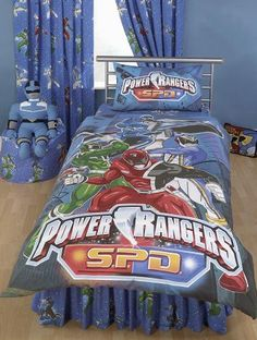 Power Ranger Fabric Blue White Stripes Childrens by Creativewings ...