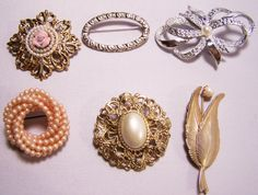 Destash Vintage Lot 6 Assorted Pins Ribbon Leaf Faux Pearl Gold tone Silver tone 524z via Etsy