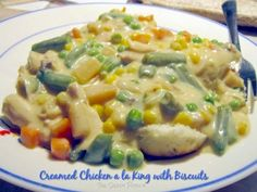 This Chicken a la King is an old favorite and one that is a dream for the busy, budget-minded cook. A wonderful way to use leftover chicken, it is almost a deconstructed chicken pot pie. I like to pre Pork Recipes, Slow Cooker Recipes, Crockpot Recipes, Chicken Recipes, Cooking Recipes, Healthy Recipes, Chicken Meals, Crockpot Dishes, Cream Chicken Over Biscuits