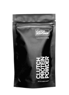 CLUTCH PROTEIN POWDER® | black matte stand up pouch packaging | #packaging curated by Copious Bags™