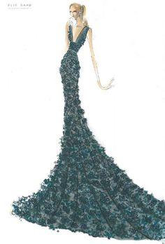 (••)                                                              Elie Saab fashion illustration