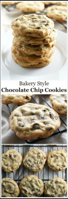 Bakery Style Chocolate Chip Cookies | stuckonsweet.com