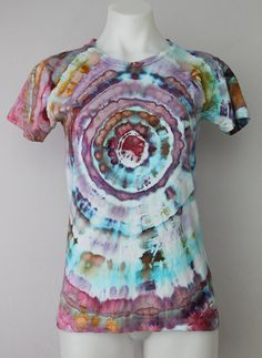Tie Dye shirt Organic cotton t shirt Ice Dyed - Size Small - Carnival mega eye