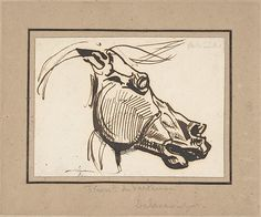 Head of a Horse, after the Parthenon Artist: Eugène Delacroix (French, Charenton-Saint-Maurice 1798–1863 Paris) Date: ca. 1825 Medium: Pen and brown ink, over a little black chalk on laid paper Dimensions: 3-1/4 x 4-7/16 in. (8.3 x 11.3 cm) Classification: Drawings