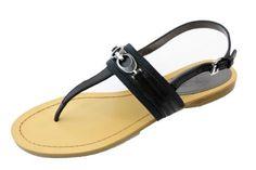 COACH Sammy Black/Semi Matte Calf Leather Thong Ankle Strap Sandal New Shoe