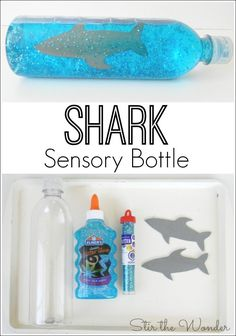 Sensory Bottle Watching this Shark Sensory Bottle creates a wonderful imagery for calming upset children!Watching this Shark Sensory Bottle creates a wonderful imagery for calming upset children! Daycare Crafts, Toddler Crafts, Preschool Crafts, Crafts For Children, Simple Crafts For Kids, Toddler Themes, Toddler Fun, Toddler Preschool, Sensory Activities