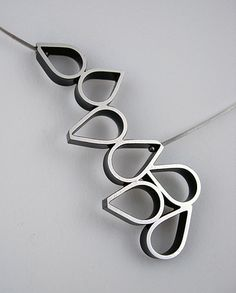 Avocado Drop Necklace by Hilary Hachey: Sterling silver necklace available at www.artfulhome.com