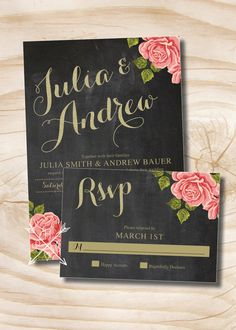 Chalkboard Gold Glitter Floral Wedding by PaperHeartCompany