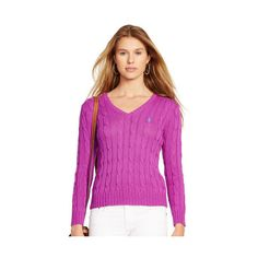 Polo Ralph Lauren Cabled V-Neck Sweater featuring polyvore, fashion, clothing, tops, sweaters, vneck sweater, v neck sweater, purple v neck sweater, cotton sweater and ralph lauren sweater