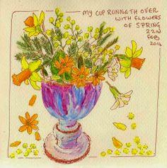 Sketching in Nature: CUP OF FLOWERS. Valerie Gardiner.