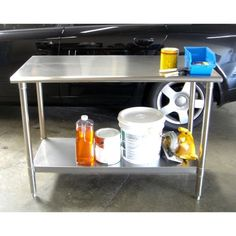 "$160 - $30 coupon = $130 NSF certified All stainless steel construction Fully adjustable stainless steel shelf Rounded edges and corners for safety Adjustable feet levelers to ensure stability Weight capacity on feet levelers (evenly distributed) 150 lbs. per shelf / table top 300 lbs total weight capacity Assembled dimensions: 48"" W x 24"" D x 35"" H Product weight: 49 lbs"