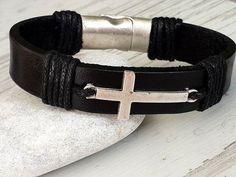 Leather Cross Bracelet Unisex Cross Mens Leather by tovvanda
