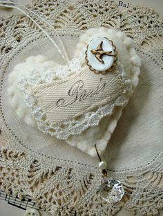 PARIS  hand stitched cotton batting mini heart - no 37