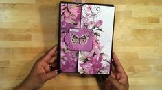 """Violet Crush"" Mini Memory Folio Published on Jun 4, 2014    You can follow the progress of this folio on Facebook at https://www.facebook.com/kona.raven.9  I made this folio as a birthday gift to a boarder. I used the ""Violet Crush"" paper collection by Kaisercraft's. It took approximately 3 1/2 hours to create and it's a mini folio measuring at only 8 1/4"" x 6 1/2"". Enjoy!"