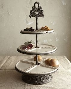 GG Collection Baroque Cream 3 Tiered Server With Brown Metal Base SHOP www.crownjewel.design