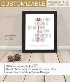 Mother Birthday Gift From Son Personalized Print For Mom Wall Art Thank You Child Present Mothers Day Red Gray