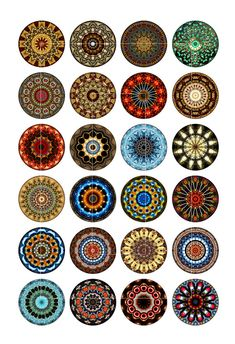 Kaleidoscope Designs Digital Collage Sheet 1 by MobyCatGraphics