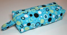 Boxy Zippered Pouch, Makeup Case, Hobby Bag, Slipper Tote, Blue/Lime/Black/White Modern Dot by TheVillageBagLady on Etsy