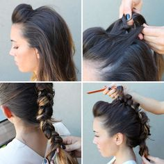 Braided fauxhawk. Poof the front, then tie knots all the way back, keeping hair pulled tight, before finishing with a messy braid at the bottom.
