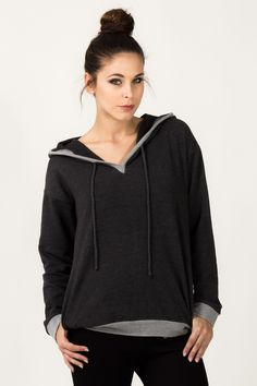 Complete your comfort-driven look with this cotton-blend hoodie decked in an easy-to-match hue. Lingerie, Hoodies, Sweatshirts, Hooded Jacket, Grey, Model, Sweaters, Cotton, Jackets