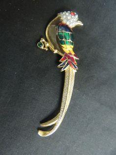 Vintage Signed Brooch LARGE Rhinestone Bird Premier Design Enamel Gold Tropical #Unbranded