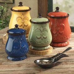 Tuscany Fleur De Lis Canisters (Kitchen Colors)