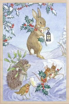 vintage - US Seller Bunny Rabbit, Mice, Bird, Porcupine Winter DIY, Diamond Painting Kit Full Drill Round drills Fast S&H Christmas Scenes, Noel Christmas, Christmas Animals, Vintage Christmas Cards, Vintage Cards, Winter Christmas, Christmas Crafts, Christmas Decorations, Xmas