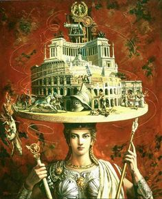 Beauty will save Rome, Oil on canvas. Painting by Russian artist Oleg Turkin - Beauty will save Satanic Art, Lowbrow Art, Pop Surrealism, Russian Art, Aesthetic Art, Figurative Art, Contemporary Artists, Collage Art, Painting & Drawing