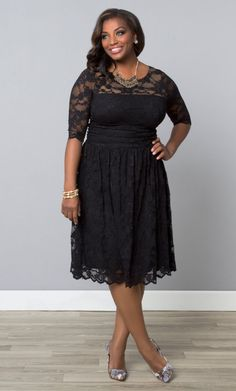 The perfect cocktail dress, the Luna lace dress features scalloped lace and nude mesh backing to hide bra straps. Buy this lace overlay dress online today. Plus Size Sundress, Plus Size Lace Dress, Plus Size Black Dresses, Plus Size Cocktail Dresses, Plus Size Outfits, Black Lace Cocktail Dress, Dress Black, Dresser, Lace Overlay Dress