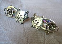 Vintage Taxco Sterling Cat Winking Earrings Signed by Vanityfare, $29.00