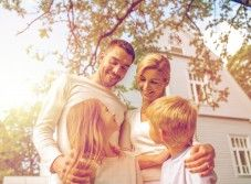 Family, happiness, generation, home and people concept - happy family standing in front of house outdoors Christian Relationships, Divorce Humor, Meet Local Singles, Happy Family, House Front, Stock Photos, Couple Photos, Happiness, Outdoors