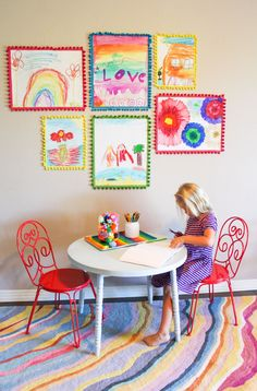 Kids Week: Make a Colorful Kids Art Gallery Wall (Design Improvised) Summer Camps For Kids, Summer Kids, Kids Room Design, Wall Design, Diy For Kids, Crafts For Kids, Kids Art Galleries, Kids Artwork, Kids Art Space